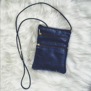 Blue leather crossbody bag!
